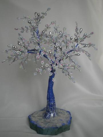 зимние деревья из бисера схемы